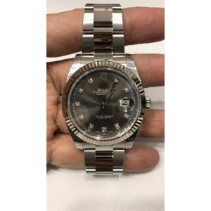 Rolex [NEW] Datejust 41mm 126334G Dark Rhodium Diamond Dial Fluted Bezel Oyster