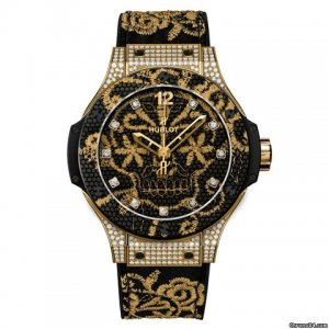 HUBLOT [全新][限量200支] 343.VX.6580.NR.0804 Big Bang Broderie Yellow Gold Diamond Set Ladies (Retail:CHF$33,900)
