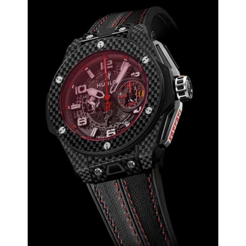 Hublot [全新] [限量1000支] 401.QX.0123.VR Big Bang Unico Ferrari Red Magic Carbon (Retail:CHF$27,900)
