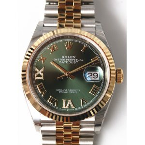 Rolex [NEW] Datejust 36mm Steel & Yellow Gold 126233VI IX Olive Green Roman Jubilee