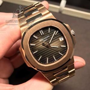 Patek Philippe [NEW] Nautilus Chocolate Dial 5711/1R Full Rose Gold Mens Watch