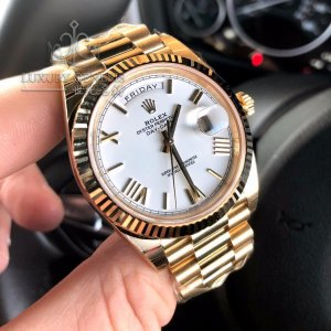 Rolex [NEW] Day-Date Yellow Gold 228238 White Roman Dial & Fluted Bezel President Bracelet