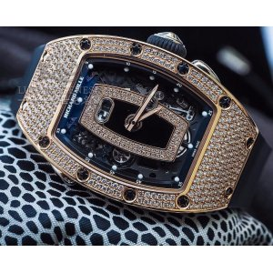 Richard Mille [NEW] RM 037 Automatic Rose Gold Ladies Full Pave Diamond Black Lip Watch