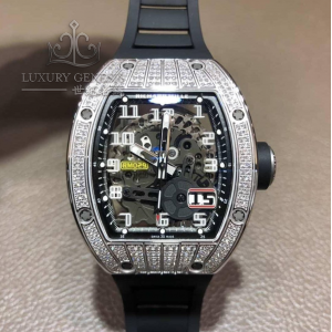 Richard Mille [NEW] RM 029 White Gold Med Set Diamond Titanium Big Date Mens Watch