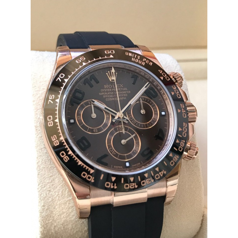 Rolex NEW-全新 18K Everose Gold Daytona Oysterflex Chocolate Dial