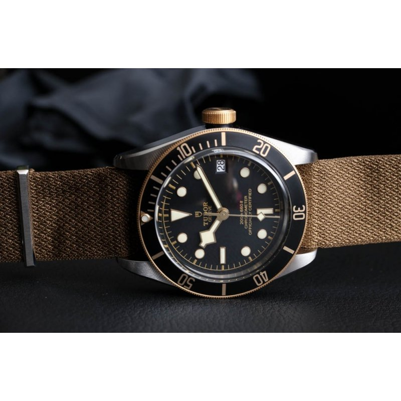 Tudor [NEW] Heritage Black Bay S&G 79733N Nato Strap Two-Tone Watch
