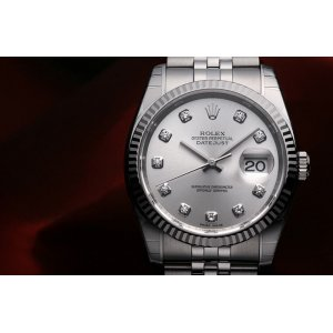 Rolex NEW-全新 Oyster Perpetual Datejust 116234G Silver Diamonds Watch