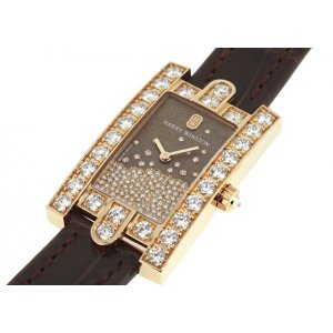 Harry Winston [NEW] Avenue Diamond Drops quartz 18K rose gold timepiece black dark partially AVEQHM21RR119