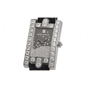 Harry Winston [NEW] Avenue Diamond Drops quartz 18K white gold black dark partially set dial AVEQHM21WW280