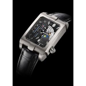 Harry Winston [NEW] Avenue Dual Time automatic zalium timepiece AVEATZ37ZZ001