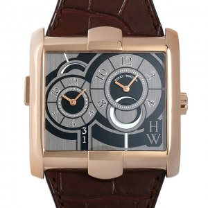 Harry Winston [NEW] Avenue Squared A² automatic 18K rose gold timepiece black dark dial AVSATZ45RR004