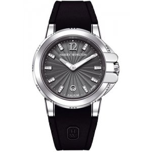 Harry Winston [NEW] Ocean Sport™ Ladies quartz zalium timepiece black dark indexes set dial OCSQHD36ZZ002