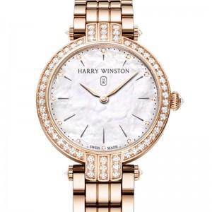 Harry Winston [NEW] Premier 31mm quartz 18K rose gold timepiece on gold bracelet white light mother of pearl indexes set dial PRNQHM31RR003