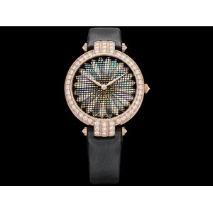 Harry Winston [NEW] Premier Precious Weaving 36mm limited edition automatic 18K rose gold timepiece white light mother of pearl dial PRNAHM36RR012