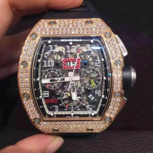 Richard Mille [NEW & RARE] RM11 Rose GoldFull Pave Diamond Flyback Chronograph Mens Watch (Retail:US$195,000) - SOLD!!