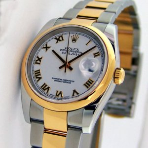 Rolex [NEW] Datejust 36mm 116203 White Roman Yellow Gold Stainless Steel Oyster Mens