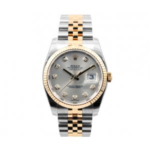 Rolex [NEW] 18K/SS Datejust 116233 Silver 36mm Diamond Dial Jubilee band (Retail:HK$92,200)