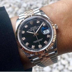 Rolex [NEW 2018 MODEL] DateJust 36mm 126233G Black Diamond Dial Jubilee