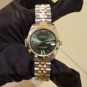 Rolex [NEW] Datejust 31mm Steel and Yellow Gold Ladies 178273VI Olive Green Roman Jubilee