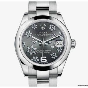 ROLEX [NEW] DATEJUST FORAL RHODIUM DIAL AUTOMATIC STEEL LADIES 31mm 178240 (RETAIL:HK$46,600)