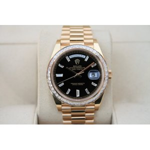 Rolex [NEW] Day-Date YG Black Diagonal Motif Index Dial & Diamond Bezel 228398TBR