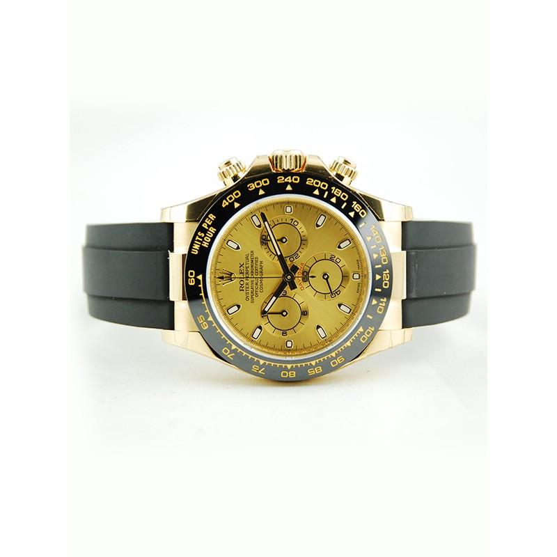 All Watches Rolex New Daytona Black Rubber Yellow Gold