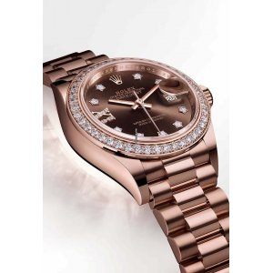 ROLEX [NEW] Lady Datejust 28mm Chocolate Diamond Dial Everose Gold President Bracelet (Retail:HK$282,000)