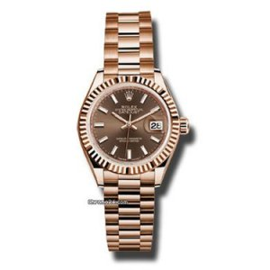 Rolex [NEW] Oyster Perpetual Brown Lady-Datejust 28mm 279175 Everose Gold President Bracelet (Retail:HK$199,000)