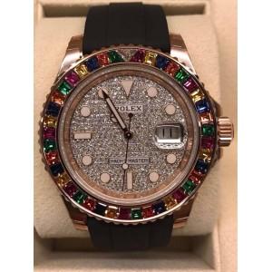 Rolex NEW-全新 Yacht-Master 116695SATS Full Pave Diamond 40mm Watch