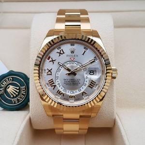 Rolex [NEW] Sky-Dweller 42mm Mens 326938 Silver Roman Dial Mens Watch