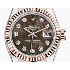 Rolex [NEW] Two Tone Rose Gold Black M.O.P. Diamond Dial Jubilee Bracelet 26mm 179171 (Retail:HK$97,100)