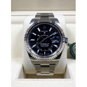 Rolex NEW-全新 326934 Black Sky-Dweller 42mm Stainless Steel Watch