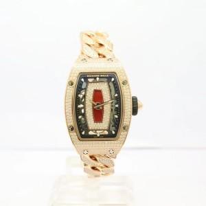 Richard Mille [NEW] RM 07-01 Rose Gold Full Set Pave Diamonds Opened Bracelet
