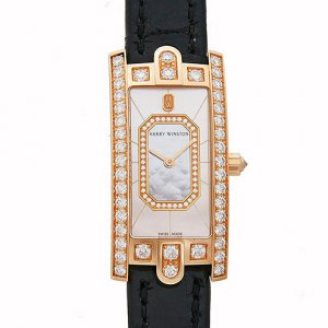 Harry Winston [NEW] Avenue C Emerald quartz 18K rose gold timepiece white light mother of pearl partially AVCQHM19RR037