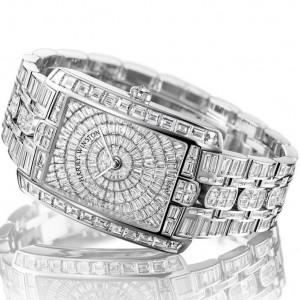 Harry Winston [NEW] Avenue C Large quartz 18K white gold on gold bracelet set with baguettes AVCQHM35WW001