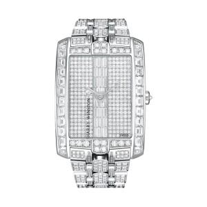 Harry Winston [NEW] Avenue C Large quartz 18K white gold on gold bracelet set with baguettes AVCQHM35WW002