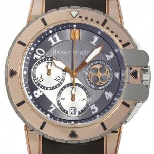 Harry Winston [NEW] Ocean Diver automatic 18K rose gold and zalium timepiece black dark dial OCEACH44RZ001