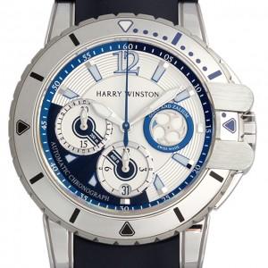 Harry Winston [NEW] Ocean Diver automatic 18K white gold and zalium timepiece white light dial OCEACH44WZ006