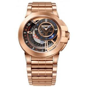Harry Winston [NEW] Ocean Dual Time 44mm automatic 18K rose gold timepiece black dark dial OCEATZ44RR013