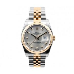 Rolex [NEW] 18K/SS Datejust 116233 Silver 36mm Diamond Dial Jubilee band (Retail:HK$92,200)