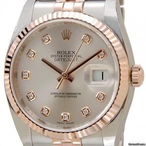 Rolex [NEW] 36mm DATEJUST Silver Diamond Dial 116231G (Retail:HK$94,700)
