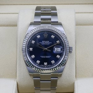 Rolex [NEW] DateJust 41mm 126334G Blue Diamond Dial Oyster Bracelet