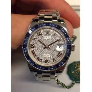 Rolex [NEW] Datejust Pearlmaster 81349SA 34mm White Gold Diamonds and Sapphires Ladies