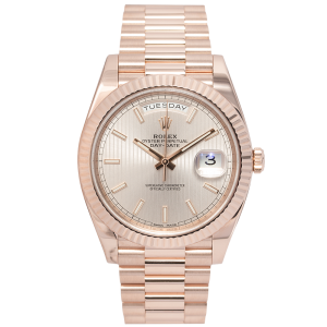 Rolex [NEW] DAY-DATE 40mm ROSE GOLD MODEL 228235 SILVER DIAL WATCH