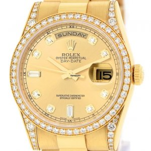 Rolex [NEW] Day Date President 36mm 118388 A Champagne Yellow Gold Diamond (Retail:HK$376,200)